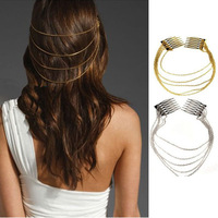 New 10pcs/Lot  Fashion Punk Hair Cuff Pin Clip 2 Combs Tassels Chains Head Band Silver/Gold Free Shipping