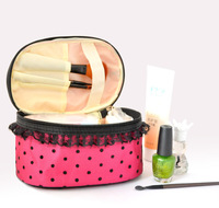 Fashion Cosmetic bag Cosmetic Cases Professional makeup bag Portable Lovely Lace Dot Storage Box