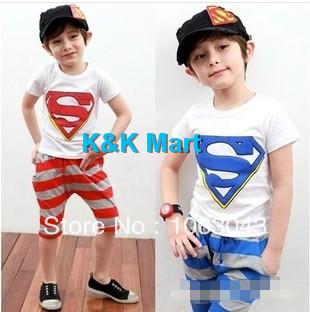 2014 New summer Wholesale 5pcs/lot children set boys kids superman suits set cotton baby clothing set children suits set(China (Mainland))