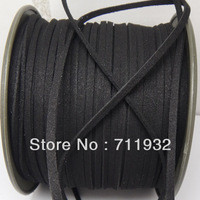 100yards/lot  3mmx1.5mm Black Faux Suede Velvet Leather Cord for Friendship Bracelet  Jewelry Making Findings