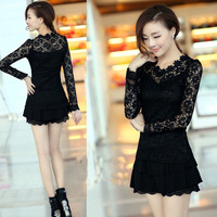 2014 women blouses spring slim waist lace long-sleeve shirt lace shirt female free shipping