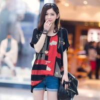 2014 summer women t-shirt short-sleeve loose cotton t-shirt female tops tees free shipping xc-1299