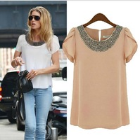 New fashion women Loose Big size chiffon casual vintage Blouses/Beading O-neck,Pullover summer costume shirts