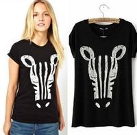 CL1309 European Style Brand Street Zebra Avatar Graffiti Abstract Cotton All-match Lady T Shirt Spring Summer Fall Women T-shirt