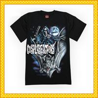 Free Shipping O-Neck Crazy Horrible Rock Fashion Plus Size Short Cotton Tshirt,0.6kg/pc