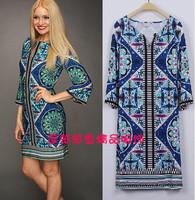 European Brands Designer Dress Women's 2013 Geometric Print Retro Sheath Jersey Silk Plus Size Dress XXL