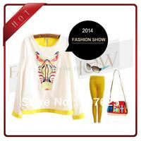 fashion women's shirt long sleeve top horse head embroidery blouse S M L free shipping drop shipping