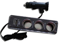 2014 in stock Car doesthis three cigarette lighter usb power car charger distributor  hot