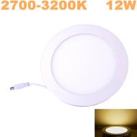 100pcs/lot 12W LED panel light SMD2835 AC85~265V Warm White Ultra-thin aluminum led ceiling lighting,Free Shipping!