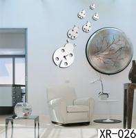 New modern design luxury 3D DIY Mirror clock Animal Beatles Wall Clocks mirror wall stickers for Child Bedroom xr026