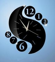 Decorative mirror wall clock black Circular and Digital Clocks home decoration mirror wall stickers  xr146