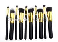 Free Shipping!! New 10pcs/SET Gold Professional Makeup Brushes Liquid Foundation Powder Cosmetic Brush Make Up Tool, Black/White