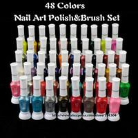 wholesale new arrival original 48 Colors available Two-Way DIY nail art Polish Pen & Varnish Brush Set 48pcs/lot free shipping