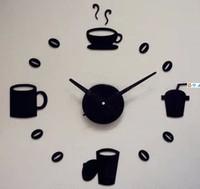 Mirror Clock Wall Home Decoration Modern Art Design DIY 3D Black Coffee Mug Digital Clock wall Stickers XR138