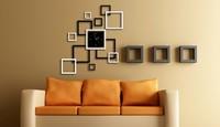 Mirror Clock Wall Home Decoration Modern Art Design DIY 3D Silver Digital Clock wall Stickers XR-136