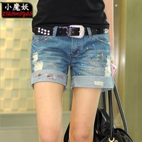 2014 Korea Style New women casual jeans shorts summer wear roll-up straight denim shorts rough holes ladies hot pants oversize