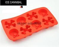 Creative DIY tool ice maker silicone 8 lattices skull styling ice cube tray molds 10pcs/lot wholesale