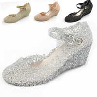 Transparent high-heeled wedges jelly shoes plastic crystal reticularis multicolour bird nest female sandals summer women's shoes