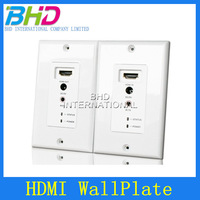 High quality latest support of 1080P display one transmitter and one receiver 50m HDMI WallPlate via UTP cable,free shipping