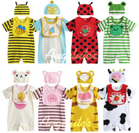 New cotton animal design baby clothing set baby boy girl summer romper set hat+romper+bib children's 3pcs