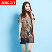 Amoon / Women New Spring Summer Casual Ice Cotton Rhinestone Print Zebra Dress 109 /Free Shipping /Plus Size /2 Colors