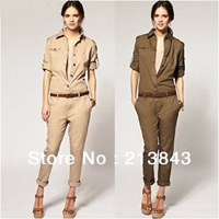 2014 New Style Woman Cotton Blend Jumpsuits Comfortable Siamesed Pants Dashing Overalls With A Gift Belt Free Shipping