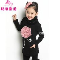 Children's clothing female child sweatshirt winter 2013 basic turtleneck shirt plus velvet thickening outerwear plus cotton