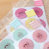 1 sheet=8 pieces 4.2cm lace decoration stickers diy transparent stickers circle lace sealing paste 5g