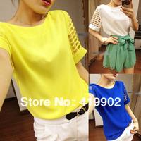 New Fashion Women's Hollow Sleeve Candy boat neck Chiffon Blouse Shirt T-shirt