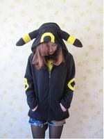 Cosplay Animal Anime Pokemon Monster Umbreon Black Hooded Hoodie Sweatshirts With Ears Tail Adult Women Men Polar Fleece Jacket