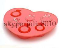 Creative DIY tool Love design ice cube silicone lattice ice tray ring diamond ice mold wholesale 10pcs/lot