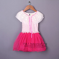Girl Dress Summer White and Hot Pink Lace Dresses Round Dot Print Baby Dress Casual Clothes For Children