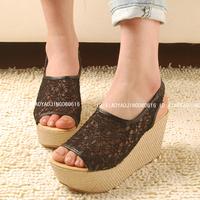 Vintage2014  lace net fabric gentlewomen's  princess platform wedges sandals open toe platform shoes