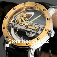 2014 High Quality Men's Hollow Engraving Style PU Analog Automatic Wrist Watch Mechanical free shipping