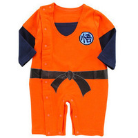 Free shipping 2-14 new arrival unique Goku Kungfu Baby Orange Toddler Fancy bodysuit Costume Long Sleeve Outfit Romper Jumpsuit