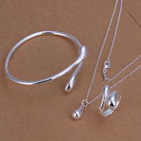 925 silver set-TSS198-2014 New lose Money Promotion charm 925 silver drop set fashion jewelry set 925 silver jewelry set