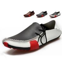 2014 Men Shoe Flat Genuine Leather Shoe Moccasins Slip On Men's Sneaker Men Footwear Casual Shoes Big Size European Style