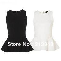 2014 New Fashion Slim Sleeveless Shirt Bottom Ruffles Back Zipper Blouse 1PC Free Shipping