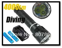 4000 Lumens 3xCree T6  Diving  Flashlight 3T6 Diving Torch +2x18650 Battery+Charger FREE Shipping