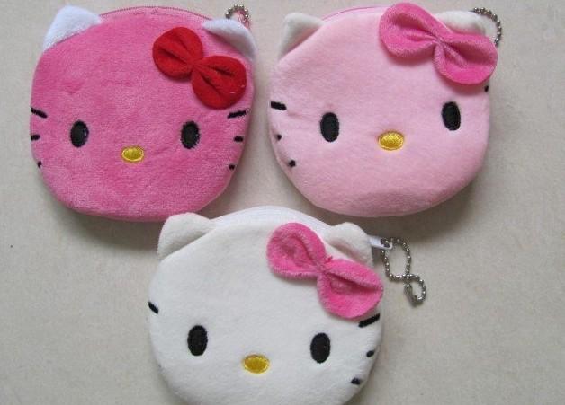 10PCS Kawaii Hello Kitty Plush Coin Purses & Wallet Pouch Case BAG ; Pendant Bags Pouch Case Holder BAG Mini Handbag Pouch(China (Mainland))