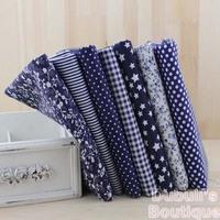 Dark Blue 7 Assorted Pre-Cut Charm Cotton Quilt Fabric Fat Quarter Tissue Bundle Best Match Floral Stripe Dot Grid Print 50x50cm