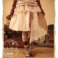 Mori girl spring autumn girl skirt lace decoration women's bottoms sweep bust skirt free shipping