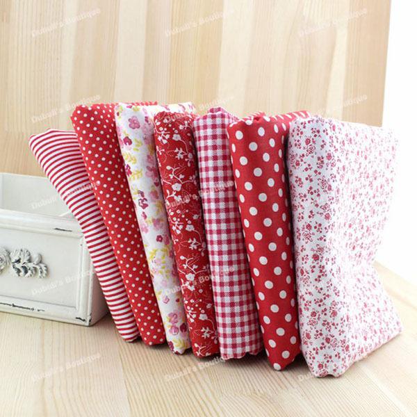 Red 7 Assorted Pre-Cut Charm Cotton Quilt Fabric Fat Quarter Tissue Bundle, Best Match Floral Stripe Dot Grid Print 50x50cm(China (Mainland))