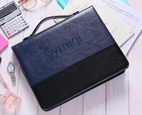 2014 New arrival,good quality pu leather manager book,commercial portable file bag with A4 writing pad portafolio BRIEFCASE 9921