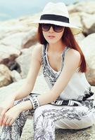New Spring 2014 Printing Sleeveless V-Neck Piece Pants Jumpsuit Women Plus Size Women Jumpsuit ly2-40