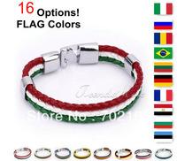 Fashion MENS Womens Flag Bracelet Colors String Leather Bracelet Braided Friendship Gift