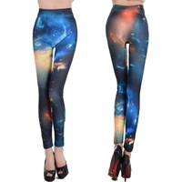 L-167 Colorful Fashion Painting Galaxy Cosmic Space Pattern Print Sexy Ninth Leggings For Women High Elasticity Skinny Pants