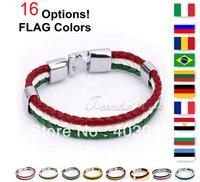 Flag Style Braided Rope Surfer Faux Leather Bracelet Bangle Wristband Italy Brazil Friendship Gift