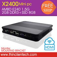 CPU AMD PC E240 1.5G,2GB DDR3,8GB SSD,Wireless,Diskless Boot Ultra Safety HDMI Desktop Computer Thin Computing PC
