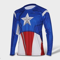 Captain America Marvel t Shirt 2014 New Fashion Heroes Shirt Men's Clothing Sport Jersey Breathable Long Sleeve Shirt Drop Sale